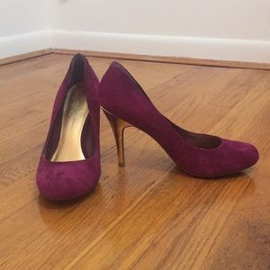 Jessica Simpson Magenta and Gold Heels